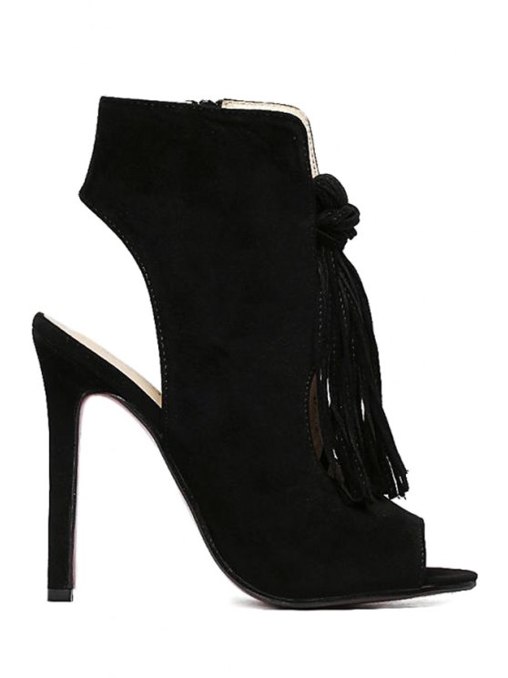 Tassel Hollow Out Peep Toe Shoes - BLACK 39 Mobile
