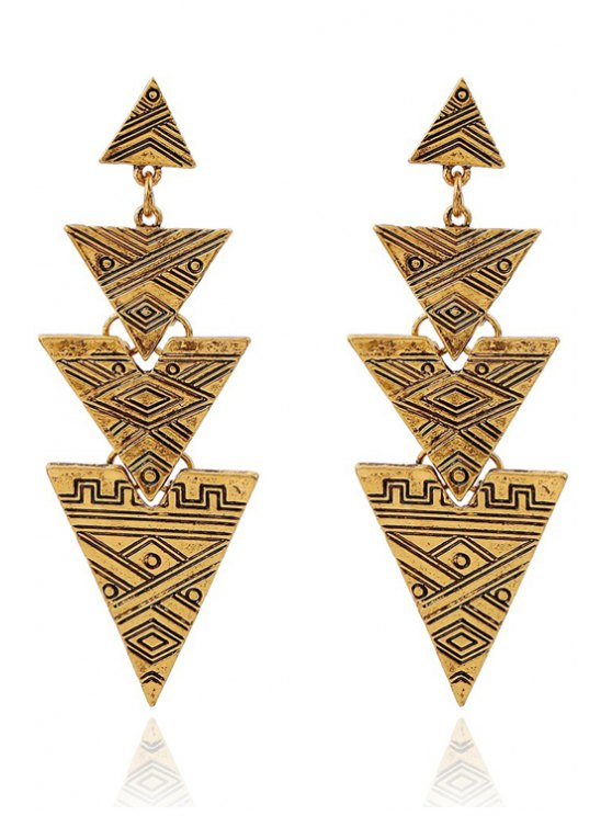 outfit Carving Stitching Triangle Drop Earrings - GOLDEN