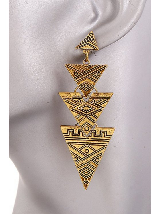 Carving Stitching Triangle Drop Earrings - GOLDEN  Mobile