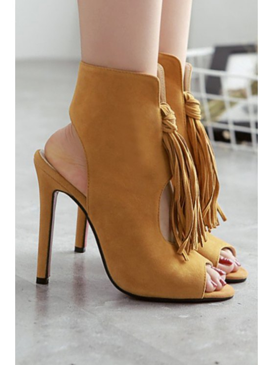 Tassel Hollow Out Peep Toe Shoes - BROWN 40 Mobile