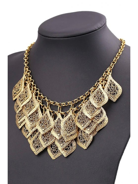 Multilayered Leaf Tassel Necklace - GOLDEN  Mobile