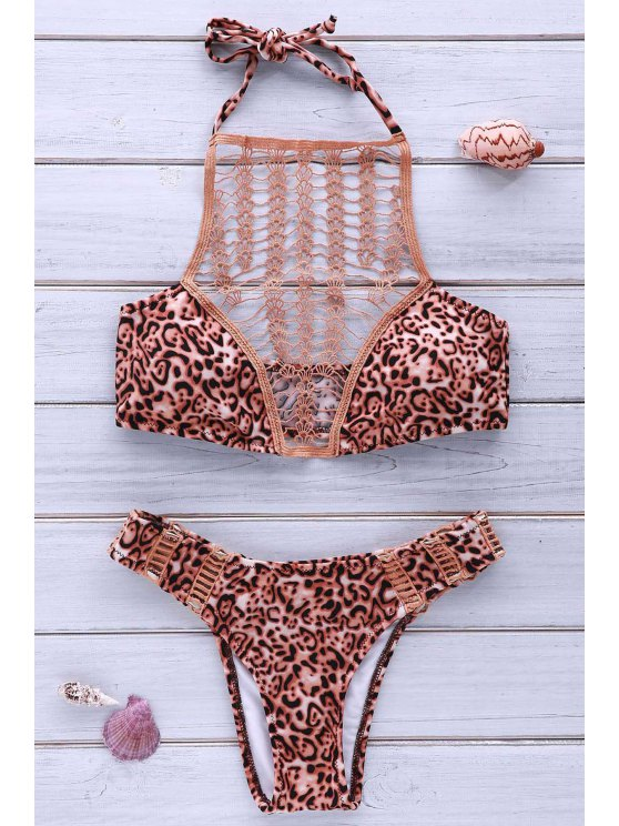 High-Cut Combined Lace Leopard Bikini Set - LEOPARD M Mobile