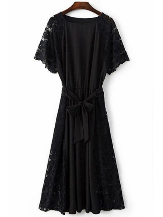 chic Combined Lace Flare Sleeve Dress - BLACK M