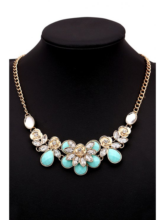 Faux Gemstone Rose Decorated Necklace -   Mobile