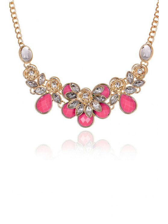 Faux Gemstone Rose Decorated Necklace - DEEP PINK  Mobile