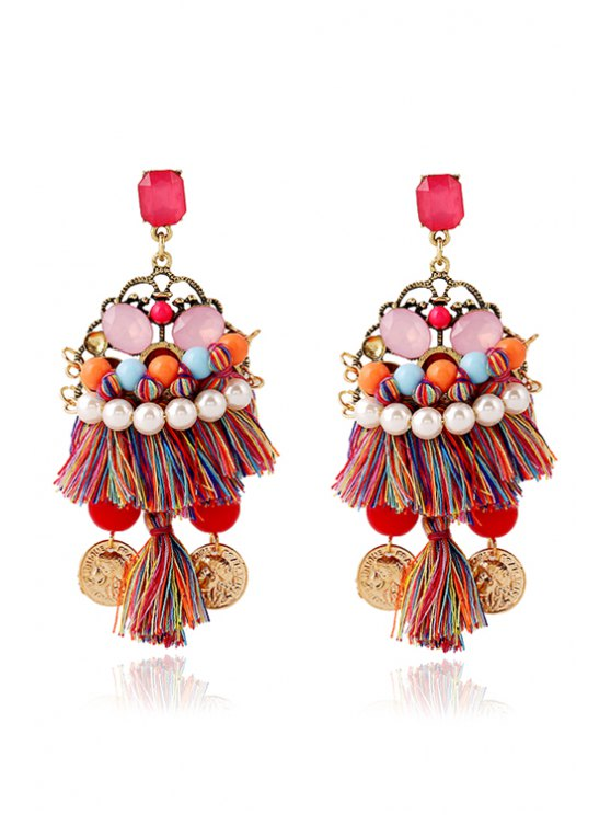 Ethnic Bohemia Coin Tassel Earrings - Colormix