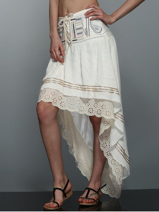 High-Low  Printed Asymmetric Skirt - OFF-WHITE S Mobile
