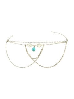 Ethnic Turquoise Water Drop Armlet - Silver