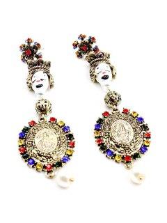 The Baroque King Rhinestone Round Earrings - Golden