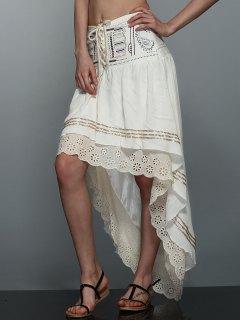 High-Low  Printed Asymmetric Skirt - Off-white M