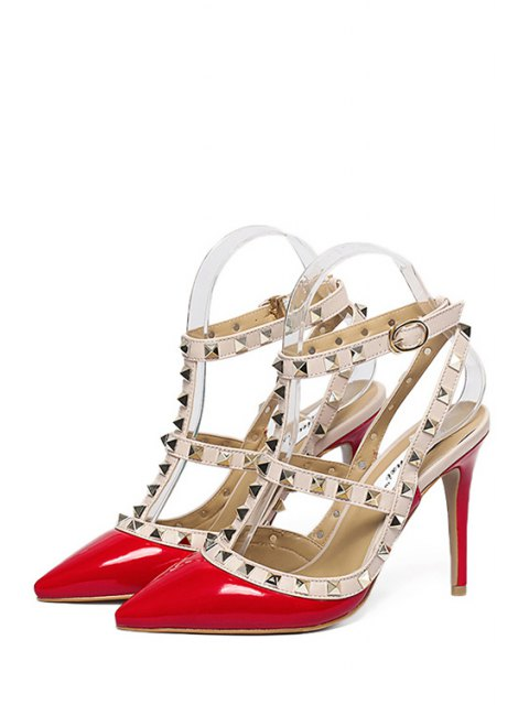 chic Strap Rivet Pointed Toe Pumps - RED 35 Mobile