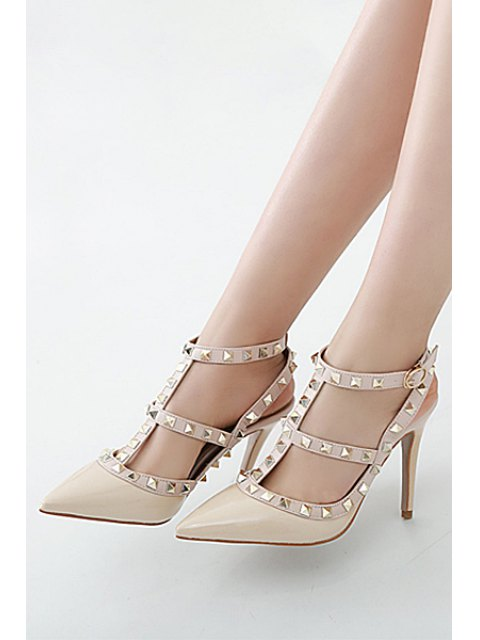 lady Strap Rivet Pointed Toe Pumps - APRICOT 39 Mobile