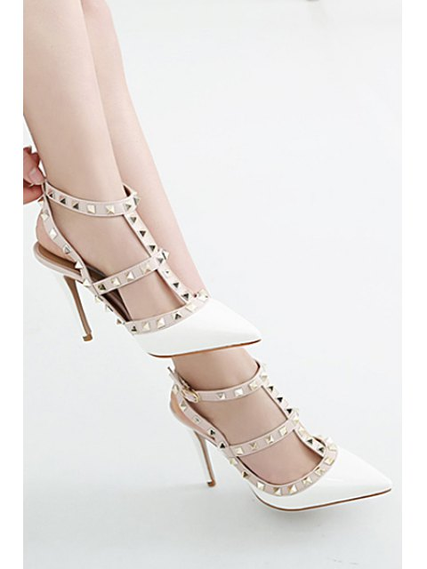 affordable Strap Rivet Pointed Toe Pumps - WHITE 37 Mobile