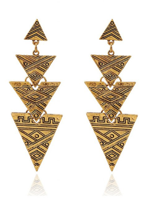 outfit Carving Stitching Triangle Drop Earrings - GOLDEN  Mobile