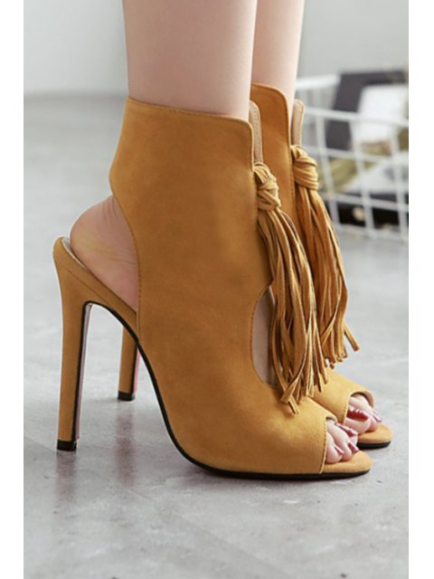 affordable Tassel Hollow Out Peep Toe Shoes - BROWN 40 Mobile