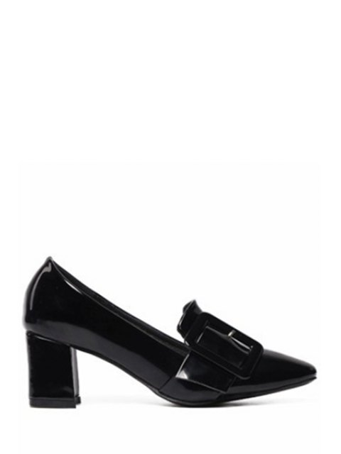 fashion Solid Color Buckle Chunky Heel Pumps - BLACK 38 Mobile