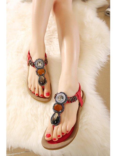 fancy Elastic Beading Flat Heel Sandals - RED 40 Mobile