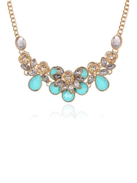unique Faux Gemstone Rose Decorated Necklace -   Mobile