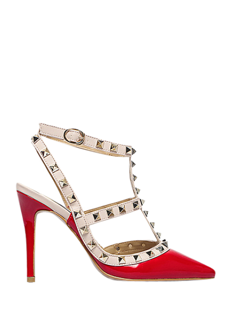 fancy Strap Rivet Pointed Toe Pumps - RED 38 Mobile