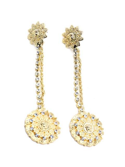 lady Baroque Style Rhinestone Flower Earrings - GOLDEN  Mobile