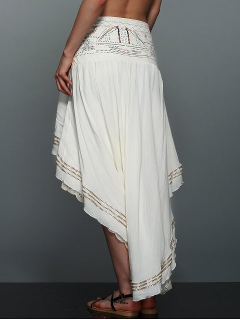 chic High-Low  Printed Asymmetric Skirt - OFF-WHITE S Mobile