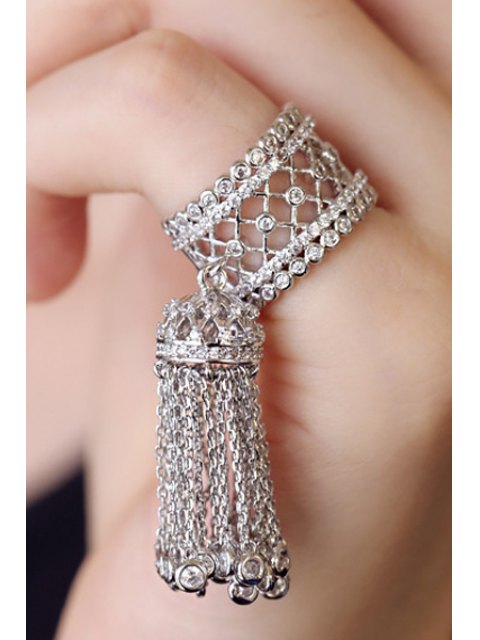affordable Rhinestoned Hollow Out Tassel Ring - WHITE GOLDEN ONE-SIZE Mobile
