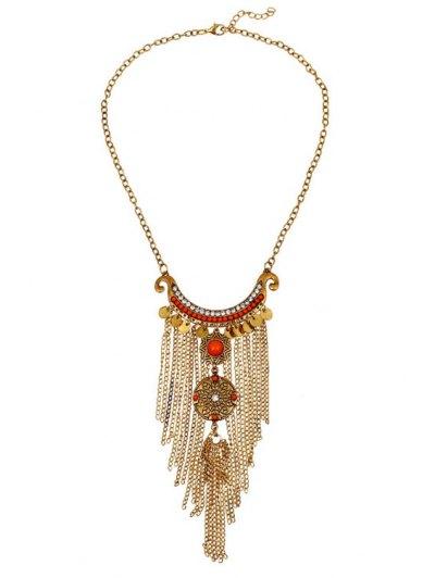 Vintage Round Pieces Link Chain Tassel Necklace For Women