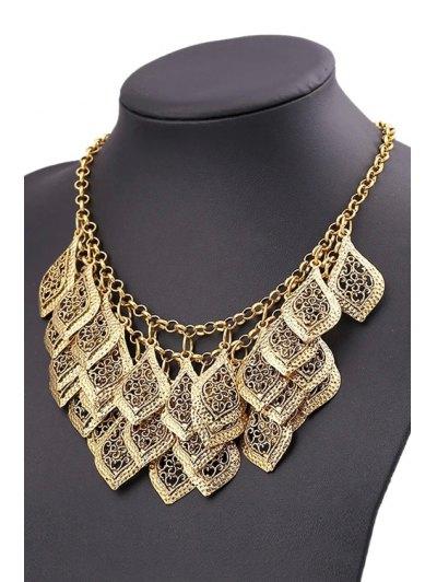 Multilayered Leaf Tassel Necklace - GOLDEN  Mobile