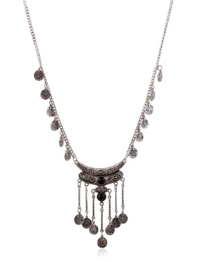 Crescent Coin Fringed Necklace - BLACK  Mobile