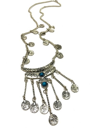 Crescent Coin Fringed Necklace - BLUE  Mobile