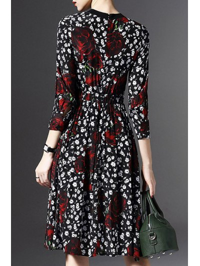 Printed Round Neck 3/4 Sleeve Waisted Dress от Zaful.com INT