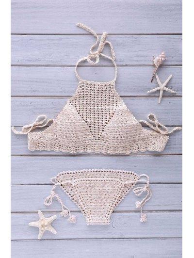 Mesh Halter Crochet Bikini Set - Apricot