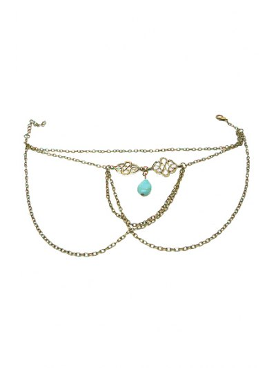 Ethnic Turquoise Water Drop Armlet - BRONZE-COLORED  Mobile
