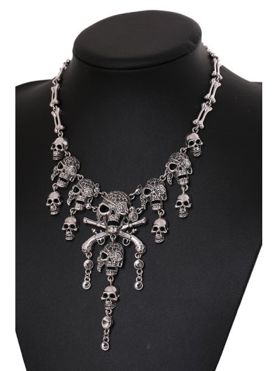 Skull Shape Tassel Necklace - SILVER  Mobile