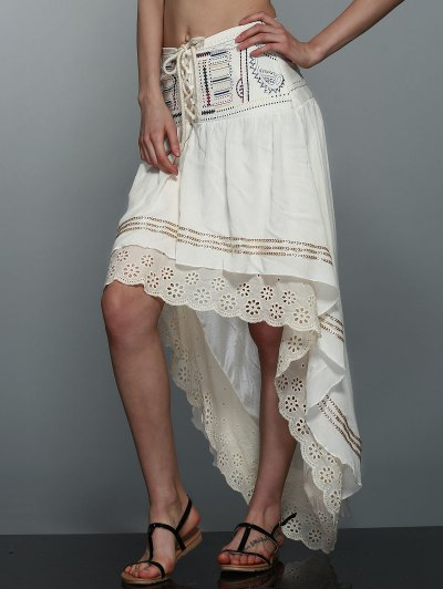 High-Low  Printed Asymmetric Skirt - OFF-WHITE XL Mobile