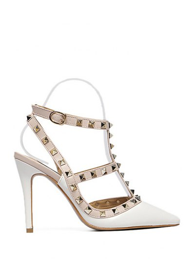Strap Rivet Pointed Toe Pumps - WHITE 35 Mobile