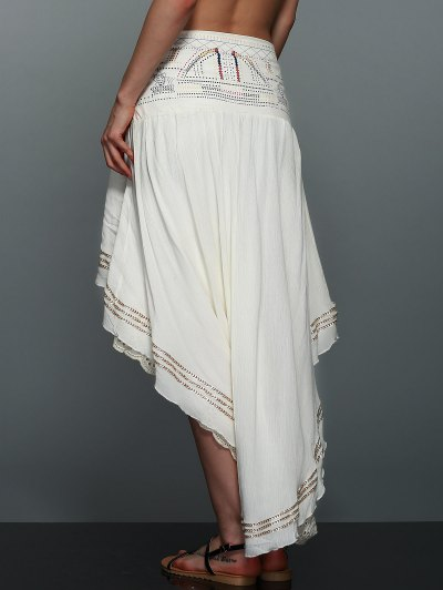 High-Low  Printed Asymmetric Skirt - OFF-WHITE M Mobile