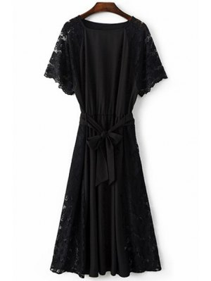 Combined Lace Flare Sleeve Dress - Black