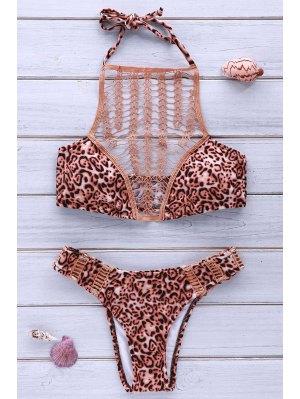 High-Cut Combined Lace Leopard Bikini Set - Leopard S