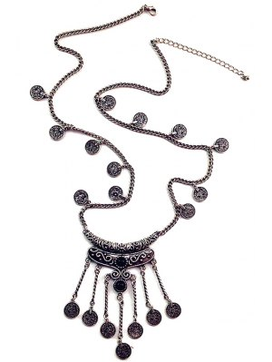 Crescent Coin Fringed Necklace - Black
