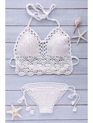 Crochet Halter Solid Color Bikini Set - White