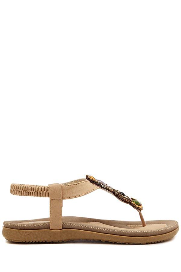 Beading Elastic Flat Heel Sandals