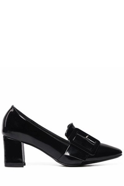 Solid Color Buckle Chunky Heel Pumps