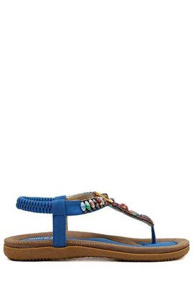 Colorful Beads Flat Heel Sandals