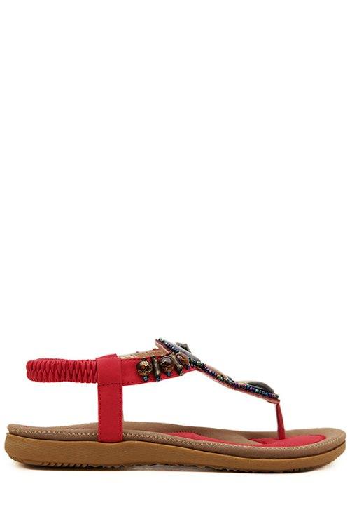 Elastic Beading Flat Heel Sandals