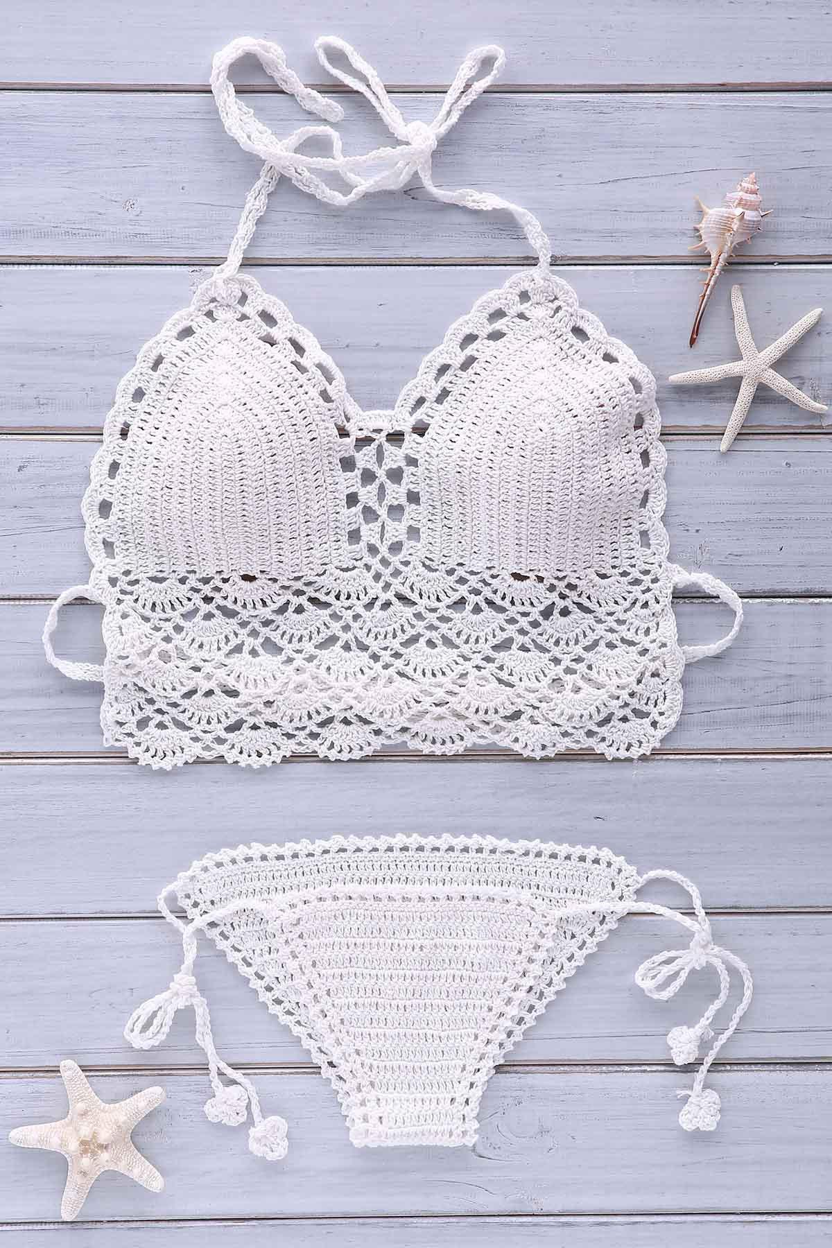 Halter Solid Color Crochet Bikini Set