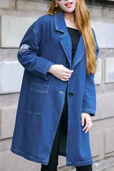 Lapel Neck Long Sleeve Blue Denim Coat