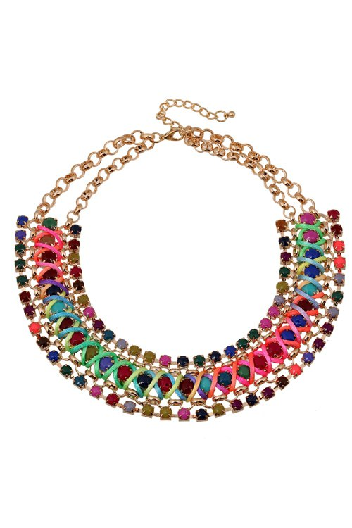 bohemia faux gemstone chunky necklace colormix necklace