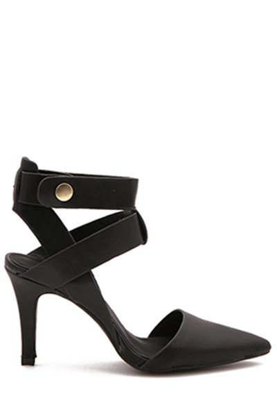 Pointed Toe Strap Black Sandals