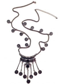 Crescent Coin Fringed Necklace